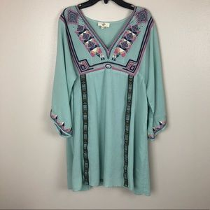 Entro embroidered boho tunic dress bell sleeves